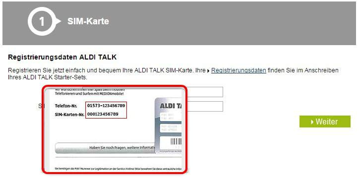 Enter ALDI TALK Login No.