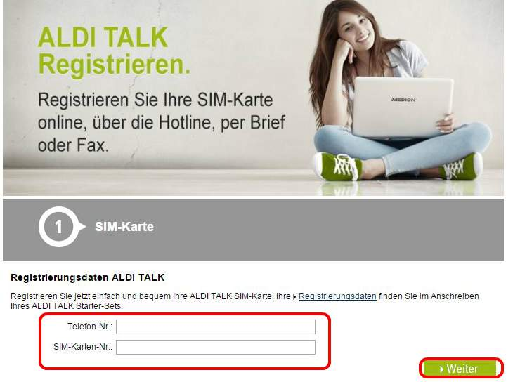 ALDI TALK login register