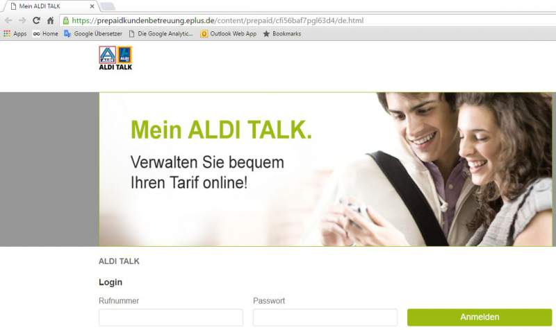 ALDI TALK Service-website