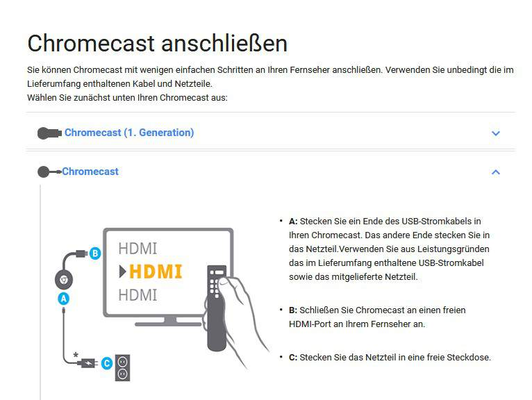 Chromecast manual download device