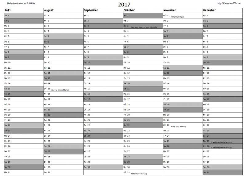 Kalender 2017 Download Halfjaar Planner