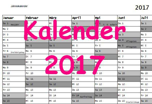 Kalender 2017 Download