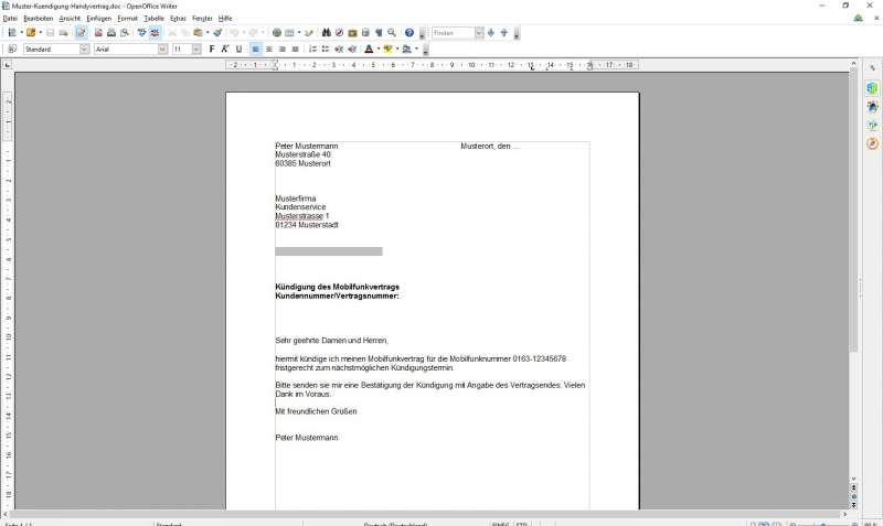 Termination phone contract template download OpenOffice