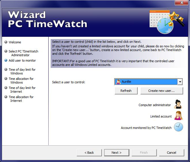 PC TimeWatch Download user accounts