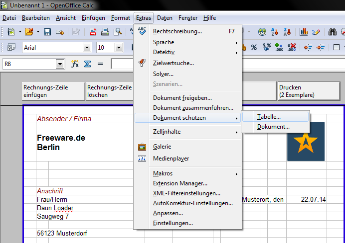 Invoice template for OpenOffice