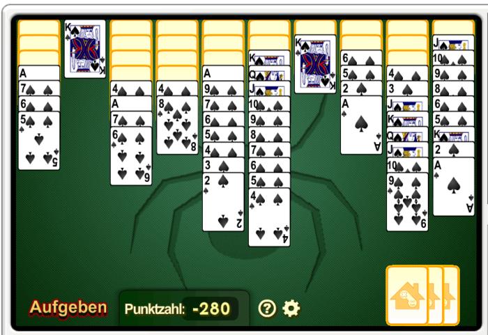 kartenspiel spider solitaire