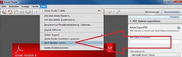 Update Adobe Reader for Updates