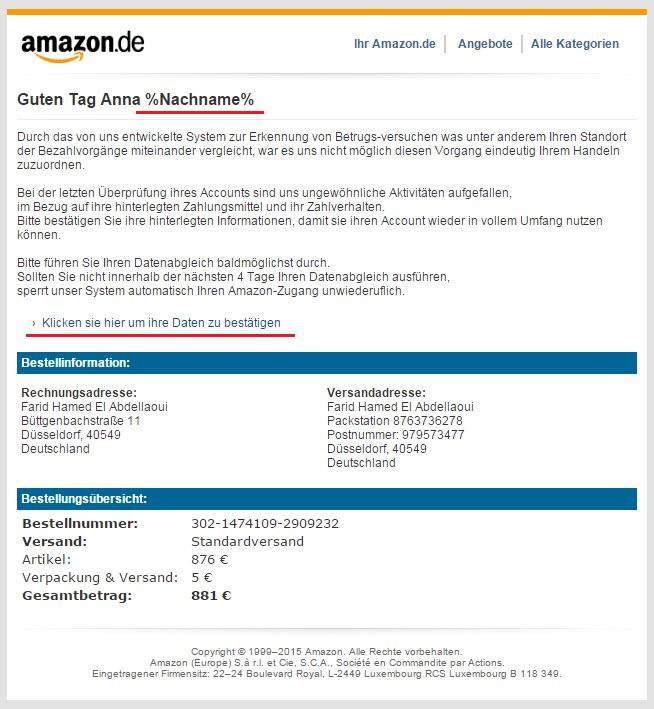 Amazon phishing voorbeeld