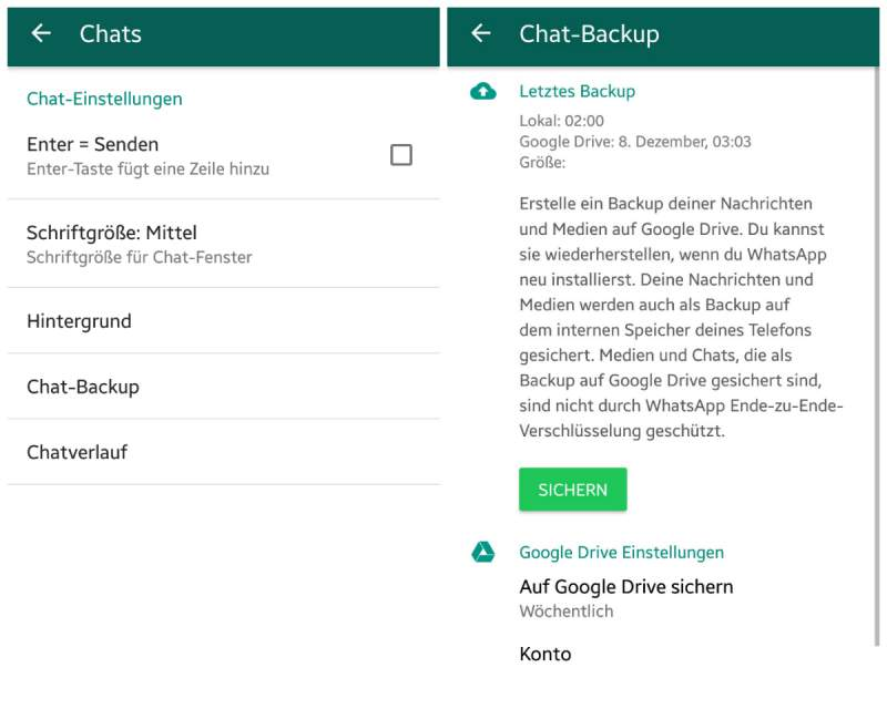 chats WhatsApp transferido Android backup