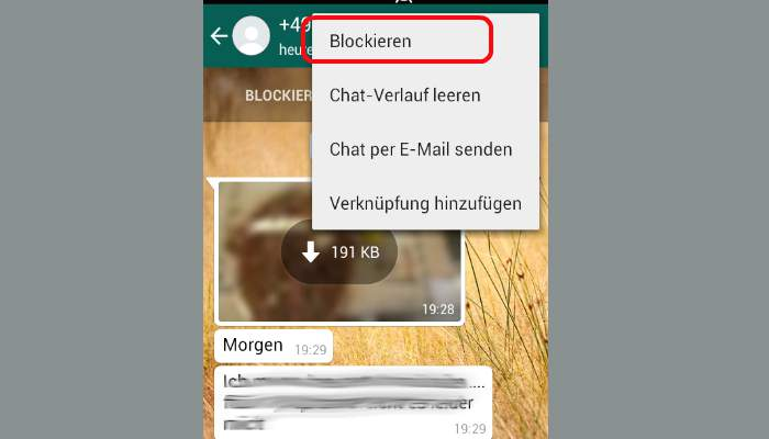 WhatsApp contacts hide block