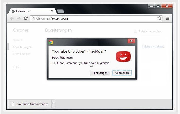 install YouTube Unblocker Chrome