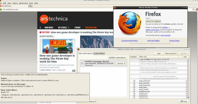 Adblock Edge Firefox in use