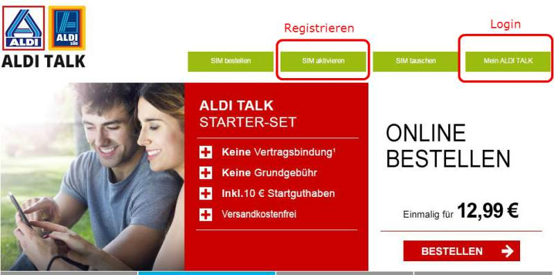 ALDI TALK Login Home