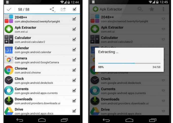 APK Extractor app functions