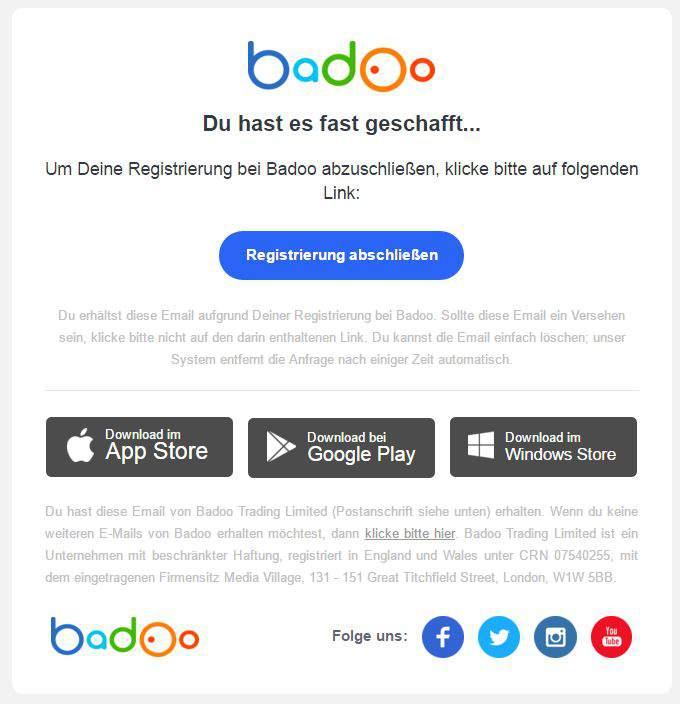 Löschen über app badoo Badoo Profil