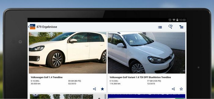 AutoScout24 App Tablet