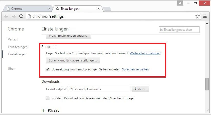 Changer navigation langue Google Chrome