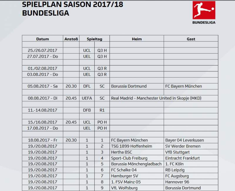 Calendrier Bayern.Bundesliga Calendrier