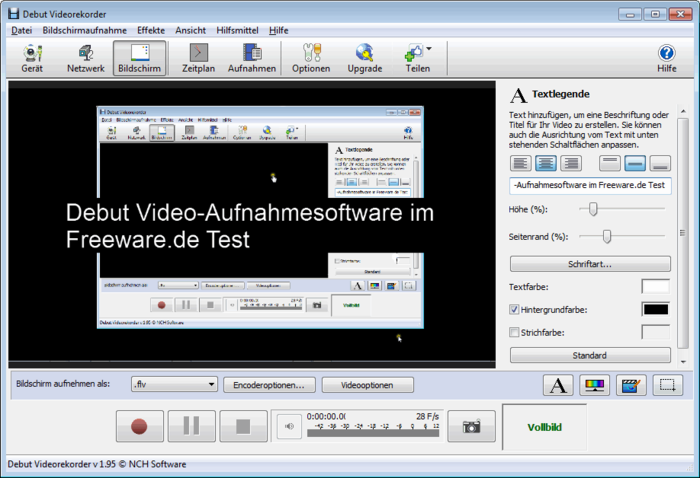 Debut Video Capture Software de Captura Área de Trabalho