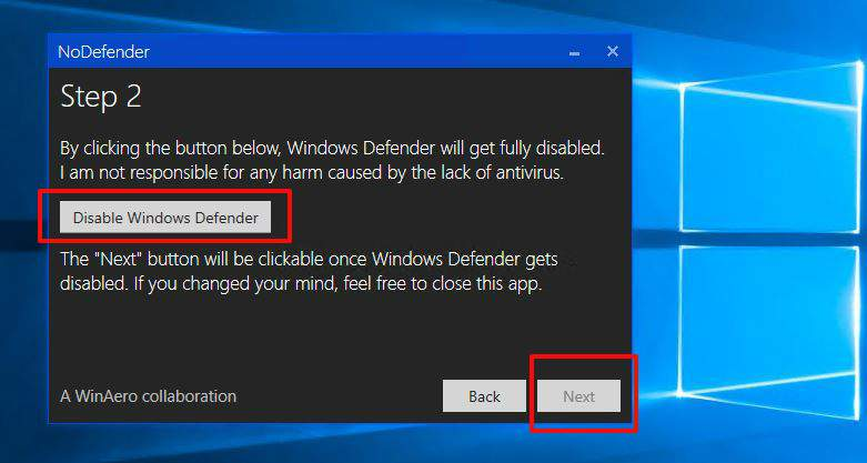 Windows 10 Defender Stap 2 disable