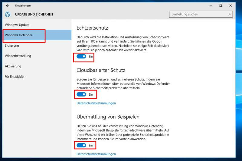 Windows 10 Defender deactiveren Drive