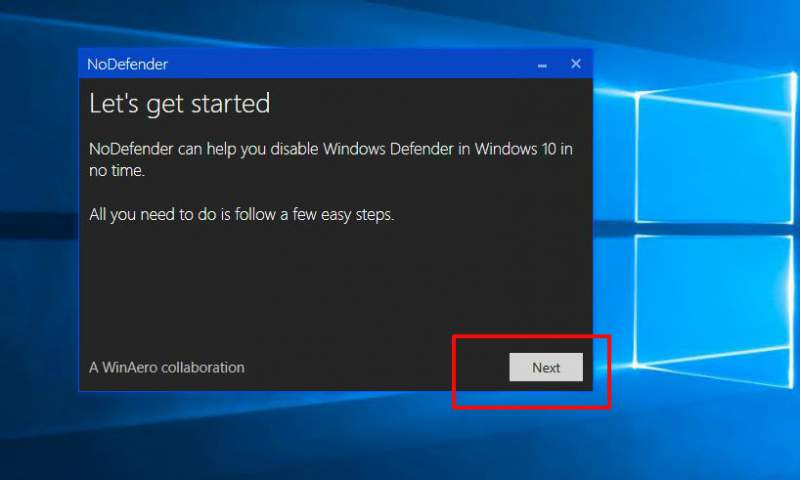 Windows 10 Defender NoDefender disable