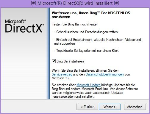 DirectX Download Bing Bar