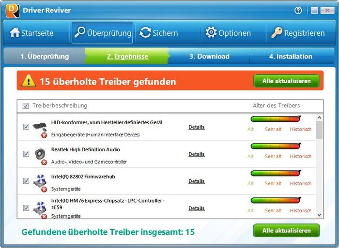 Reviver Driver lista de downloads motorista