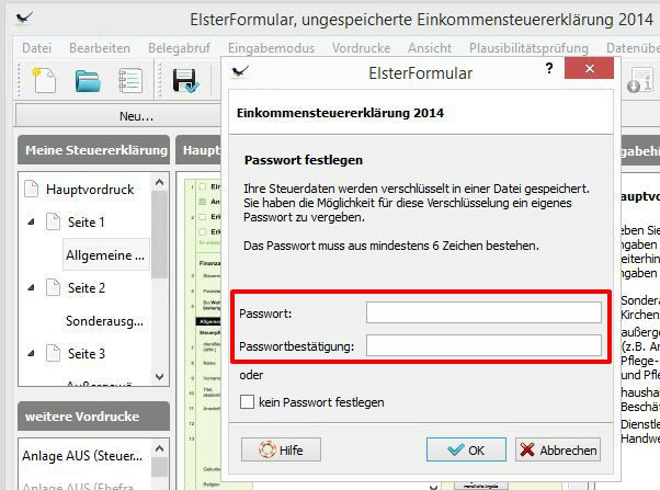 Elster tax declaration Password