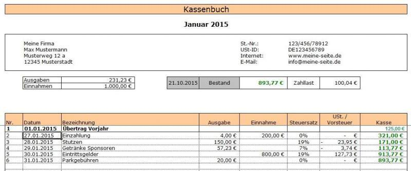 Excel kasboek downloaden boekingen