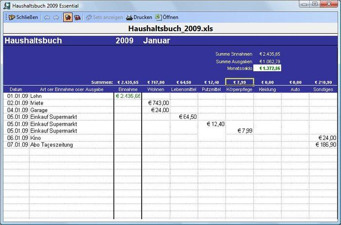 Excel template Haushaltsbuch 2009 Download