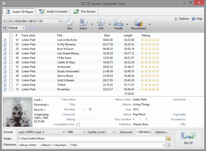 EZ CD Audio Converter Free Download Import