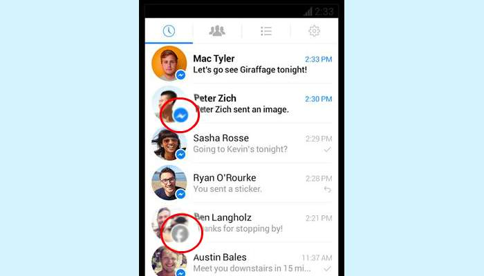Facebook Messenger lista icone