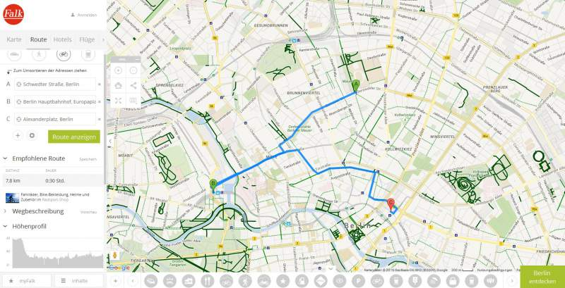 Bicycle route planner Download WebApp