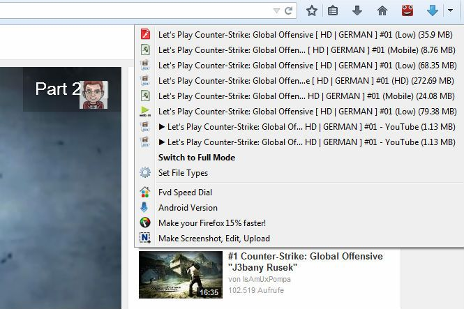 captura de pantalla Flash Video Downloader para Firefox