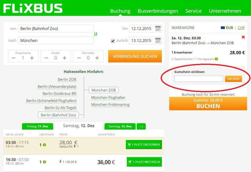 Redeem coupon Flixbus