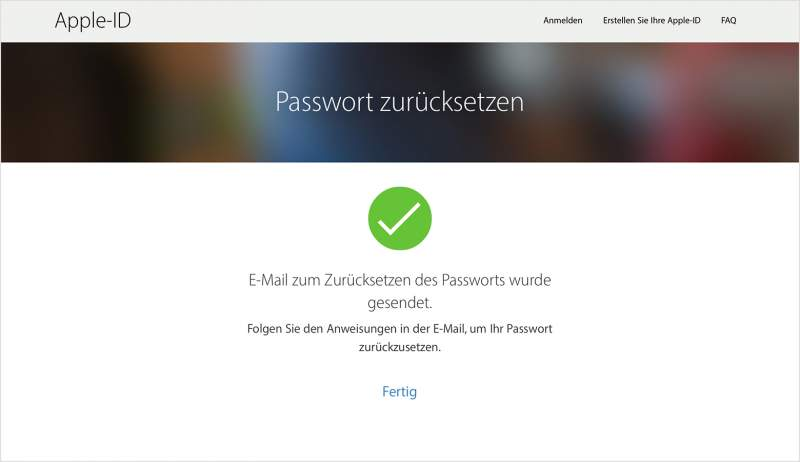 App Store forgot password via e-mail