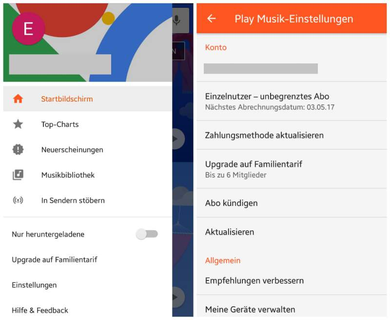 Google Play Music app terminate
