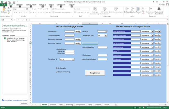 Heating and utilities for Excel Download