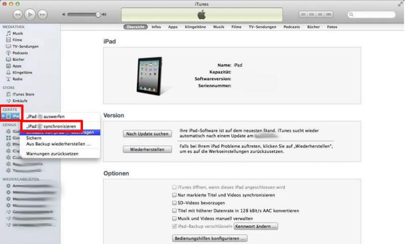 iPad con il PC collegare itunes