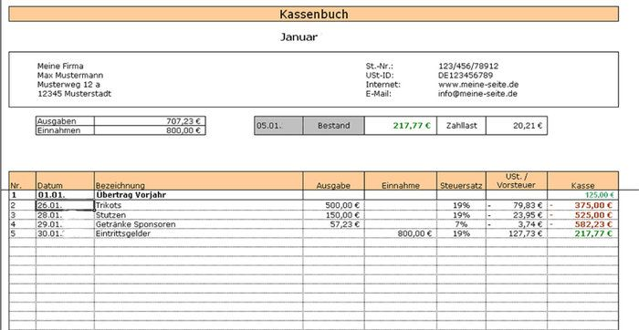 Cashbook 2014 Download Excel
