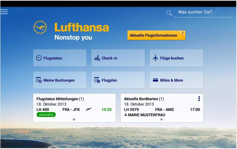 Lufthansa app categories