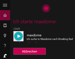 maxdome Windows 10 App Cortana