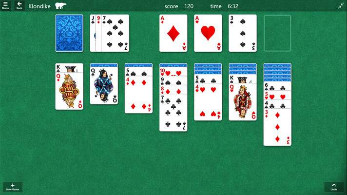 Solitaire de Windows 10 App Klondike