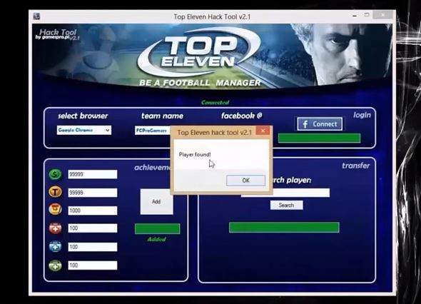 Top Eleven fraude Hack