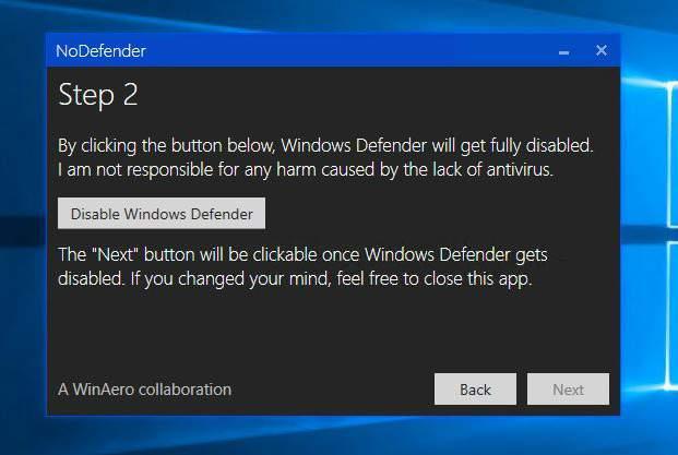 nodefender windows 10