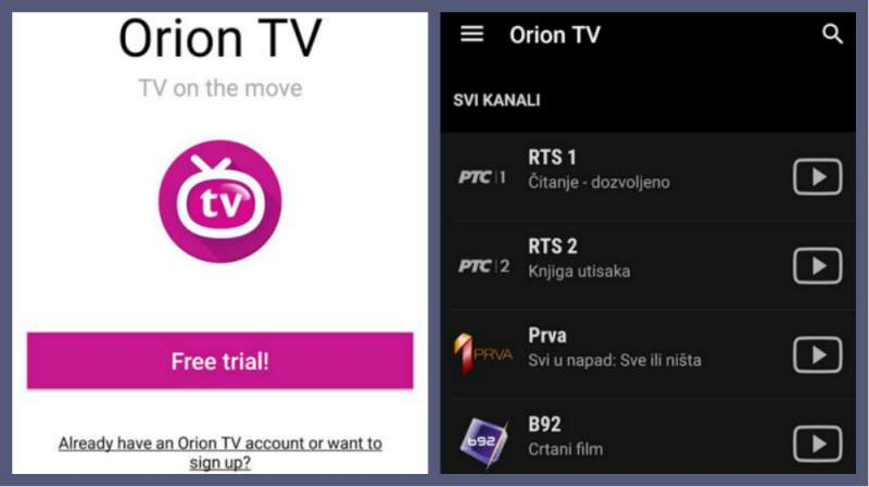 Orion aplicación de TV