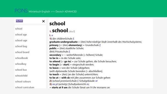 PONS German - English dictionary Advanced Download language direction