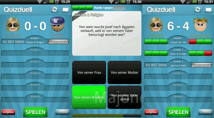Quiz duel Android play with other players.