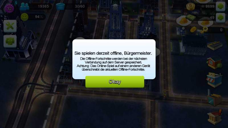 SimCity BuildIt engana offline